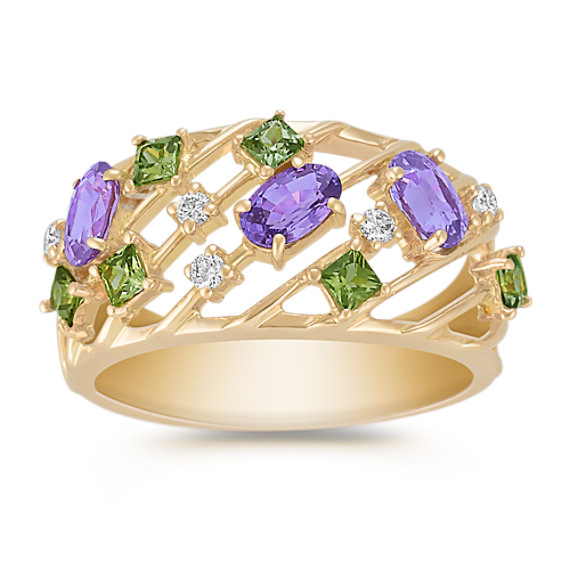 Oval Lavender Sapphire, Princess Cut Green Sapphire, and Round Diamond Ring