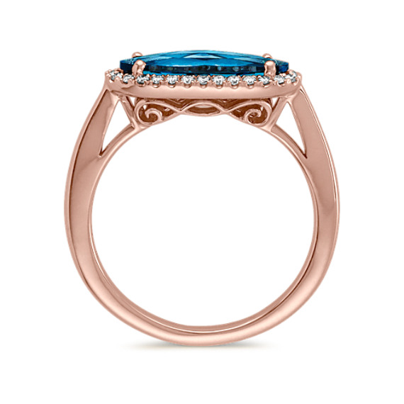 Oval London Blue Topaz and Diamond Ring in 14k Rose Gold