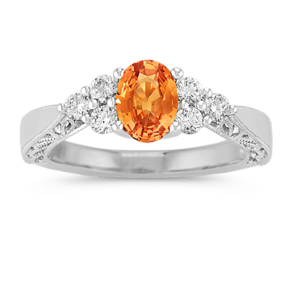 Oval Orange Sapphire and Round Diamond Ring