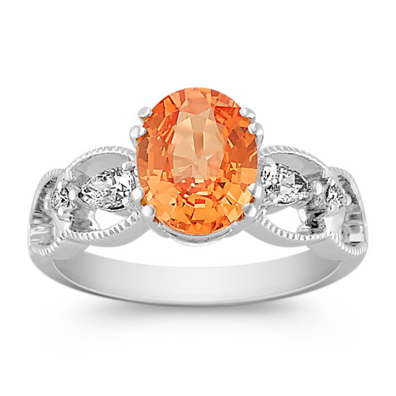 Oval Orange Sapphire, Pear Shape and Round Diamond Ring
