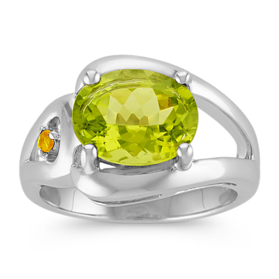 Oval Peridot and Round Citrine Ring in Sterling Silver