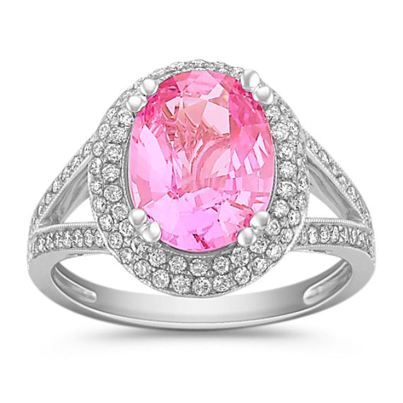 Oval Pink Sapphire and Round Diamond Ring in 18k White Gold