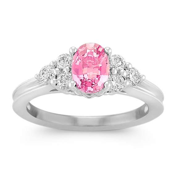 Oval Pink Sapphire and Round Diamond Ring