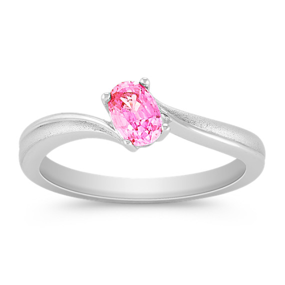 Oval Pink Sapphire Ring in Sterling Silver