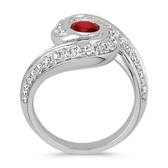 Oval Ruby and Round Diamond Swirl Ring