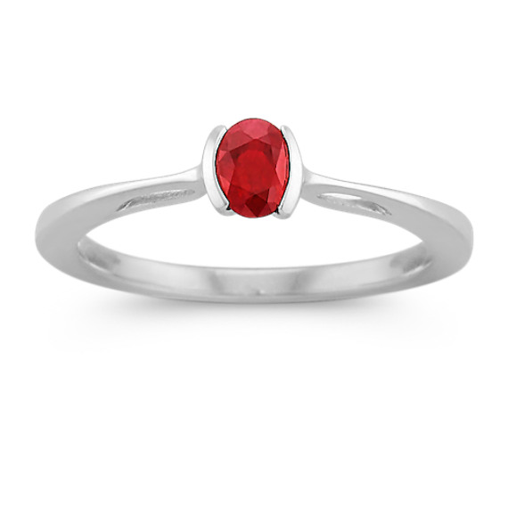 Oval Ruby and Sterling Silver Ring