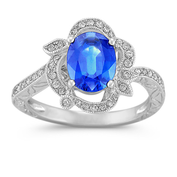 Oval Sapphire and Round Diamond Ring