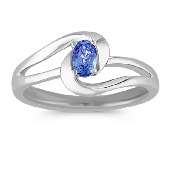 Oval Sapphire Ring in Sterling Silver