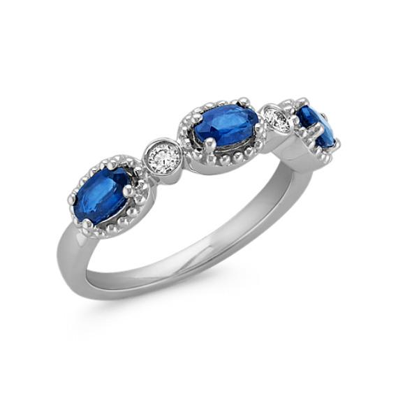 Oval Sapphire Three-Stone Ring with Diamond and Milgrain ...