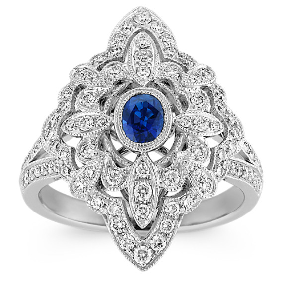 Oval Traditional Sapphire and Round Diamond Vintage Ring