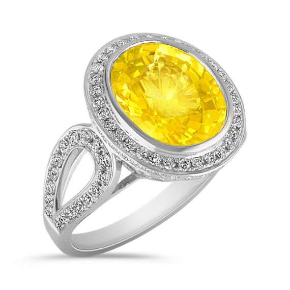 Oval Yellow Sapphire and Round Diamond Ring