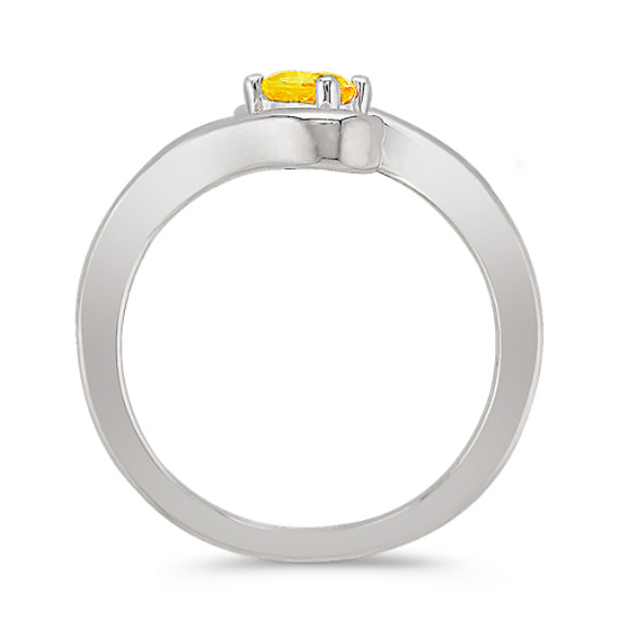 Oval Yellow Sapphire Ring in Sterling Silver