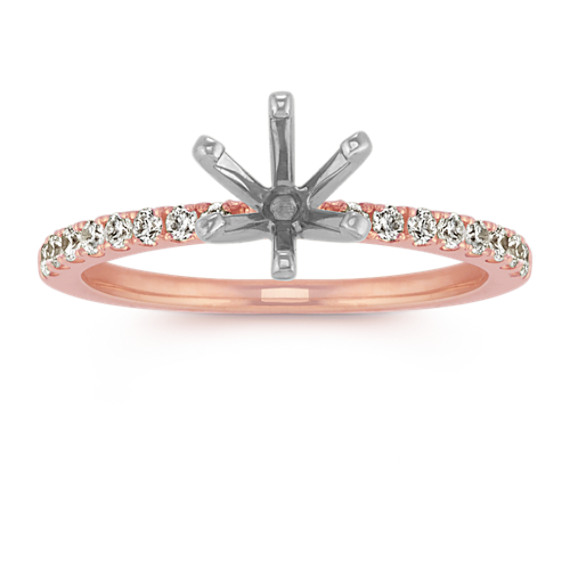 Pavé Diamond Engagement Ring in Rose Gold