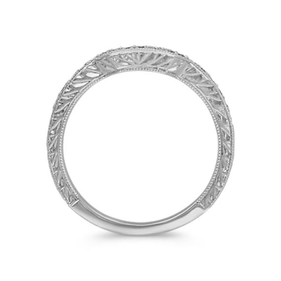 Pavé Set Diamond Contour Wedding Band with Side Engraving