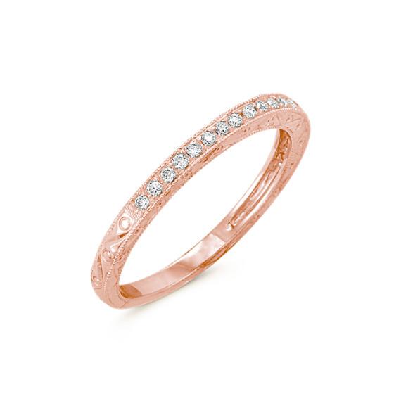 Pavé Set Diamond Wedding Band in 14k Rose Gold