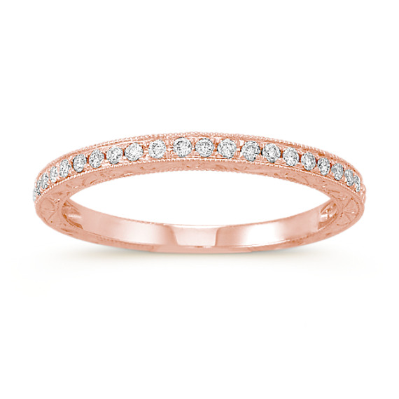 Pavé Set Diamond Wedding Band in 14k Rose Gold at Shane Co