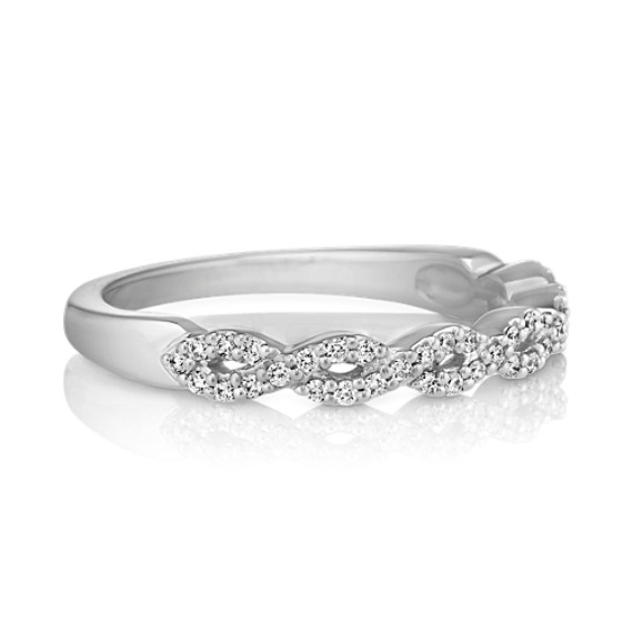 Pavé Set Diamond Wedding Band with Close-Knit Infinity Design