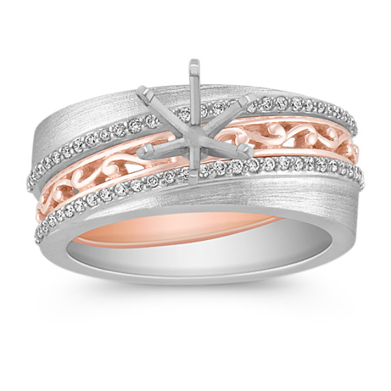 Pavé Set Diamond Wedding Set in Two-Tone Gold