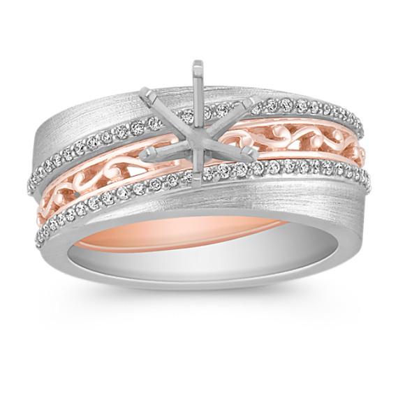 Pavé Set Diamond Wedding Set in Two-Tone Gold