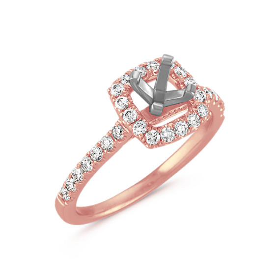 Pavé-Set Halo Engagement Ring in 14k Rose Gold