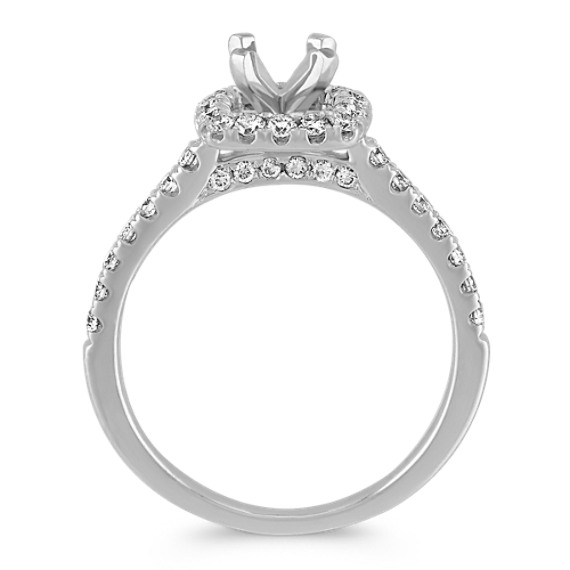 Pavé-Set Halo Engagement Ring in 14k White Gold