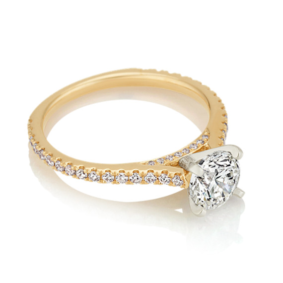 Pavé-Set Round Diamond Cathedral Engagement Ring in 14k Yellow Gold