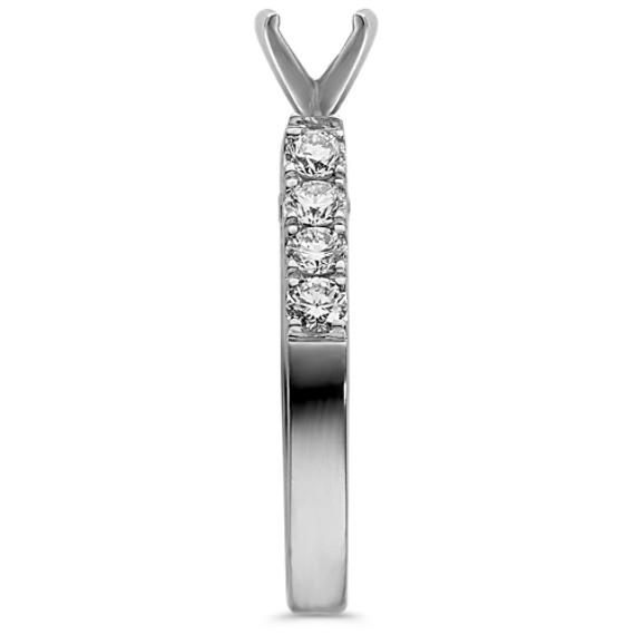 Pavé-Set Round Diamond Cathedral Platinum Engagement Ring