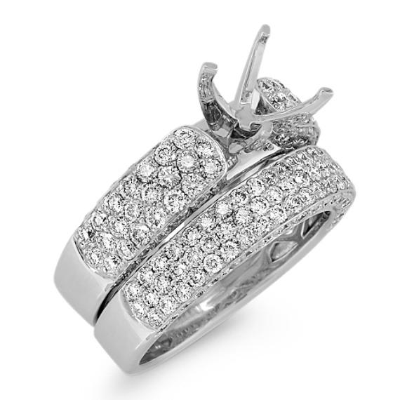 Pavé-Set Round Diamond Wedding Set