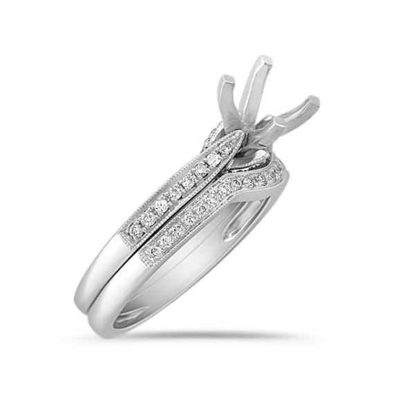 Pavé Set Round Diamond Wedding Set