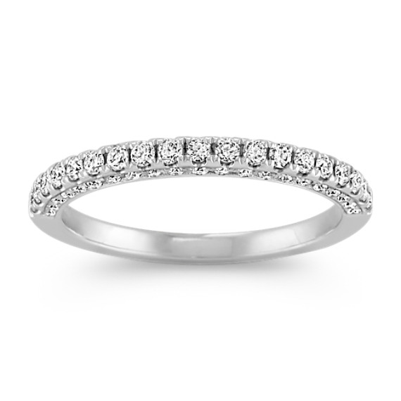 Pavé Set Three-Sided Diamond Wedding Band