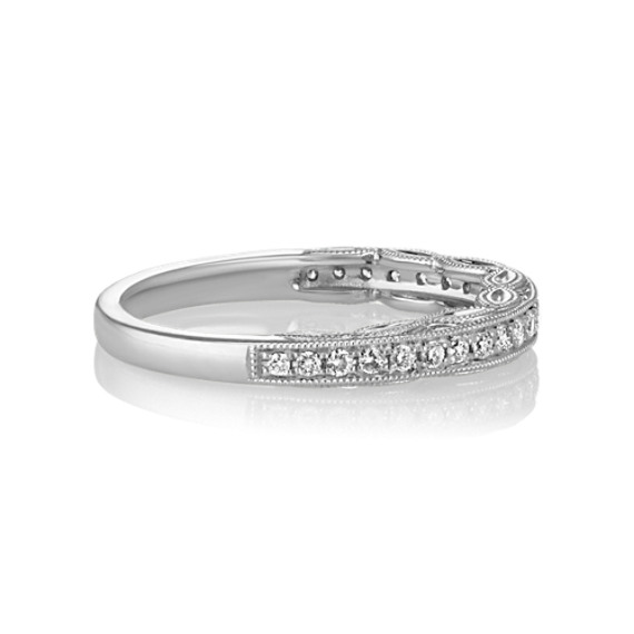 Pavé Set Vintage Diamond Wedding Band in Platinum