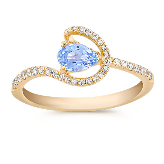 Pear shape Ice Blue Sapphire and Diamond Ring