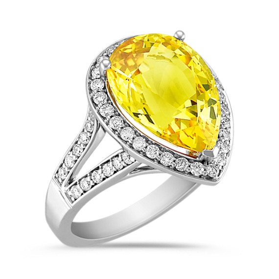 Pear Shape Yellow Sapphire and Round Diamond Ring