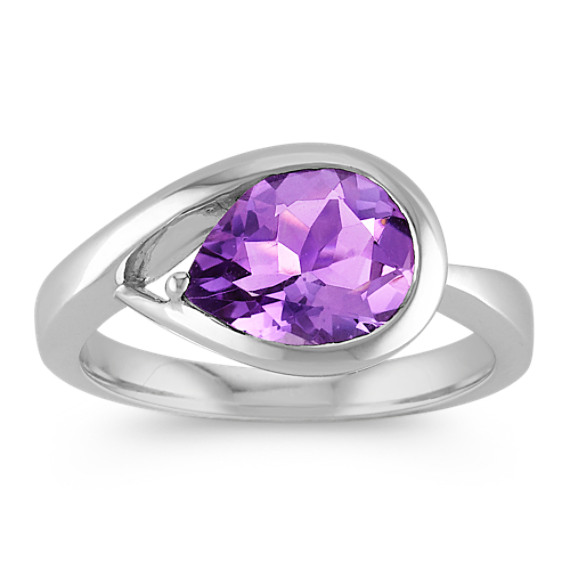 Pear-Shaped Amethyst Ring in Sterling Silver