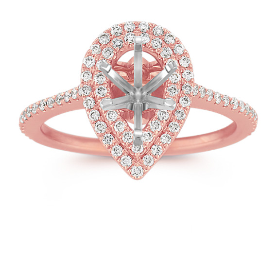 Pear Shaped Double Halo Diamond Engagement Ring in 14k Rose Gold at Shane Co