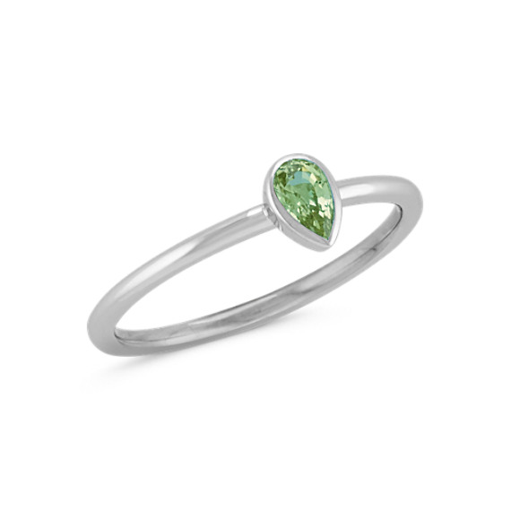 Pear-Shaped Green Sapphire Stackable Ring in 14k White Gold