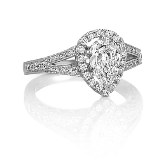 Pear-Shaped Halo Diamond Engagement Ring with Pavé-Setting