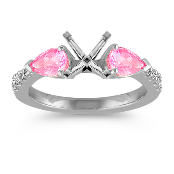 Pear-Shaped Pink Sapphire and Diamond Three-Stone Engagement Ring