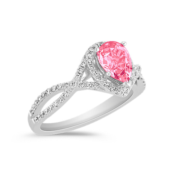 Pear Shaped Pink Sapphire and Round Diamond Engagement Ring