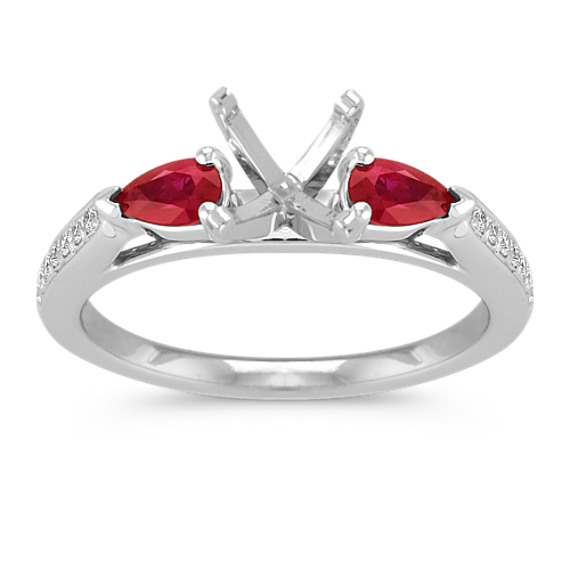 Pear Shaped Ruby and Round Diamond Engagement Ring with Pavé Setting