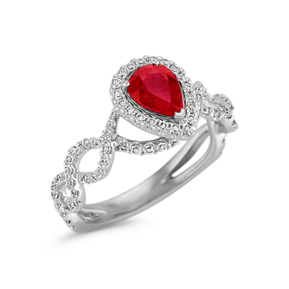 Pear Shaped Ruby and Round Diamond Halo Ring