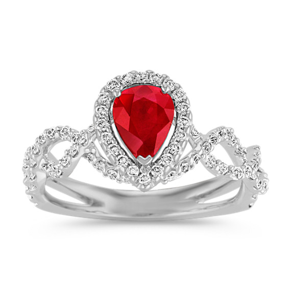 Pear-Shaped Ruby and Round Diamond Halo Ring