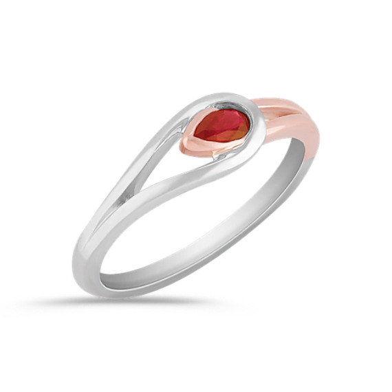 Pear Shaped Ruby Ring in Sterling Silver and Rose Gold