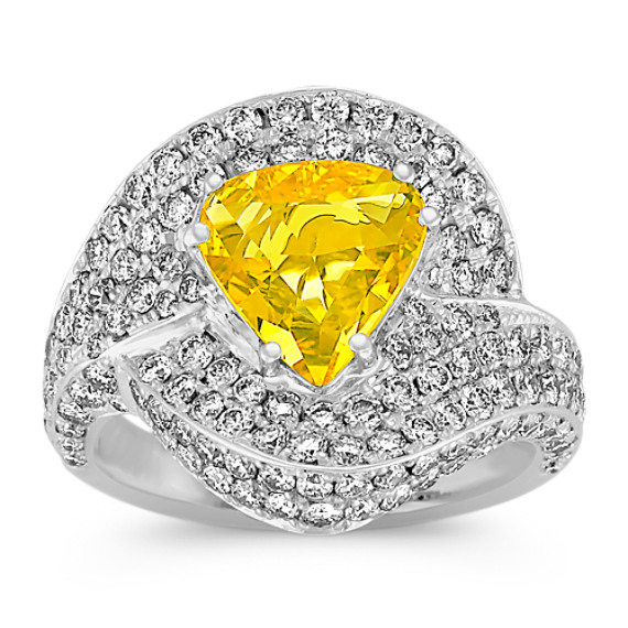 Pear Shaped Yellow Sapphire and Round Diamond Ring