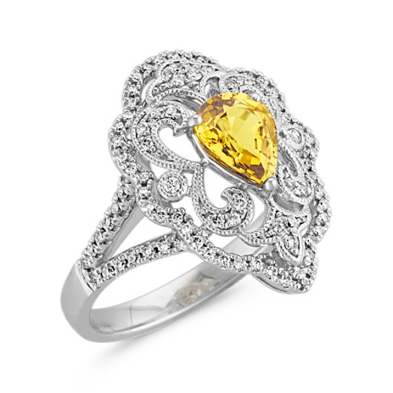 Pear-Shaped Yellow Sapphire and Round Diamond Vintage Ring