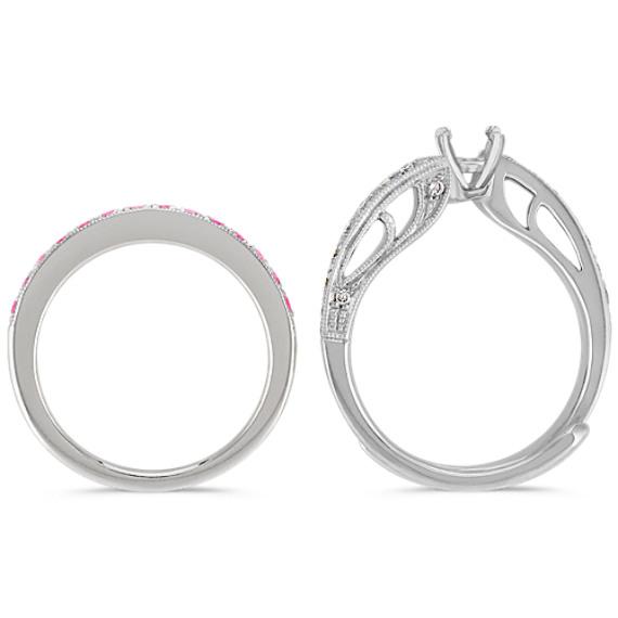 Pink Sapphire and Diamond Swirl Wedding Set