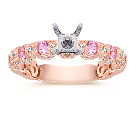 Pink Sapphire and Diamond Vintage Engagement Ring in 14k Rose Gold