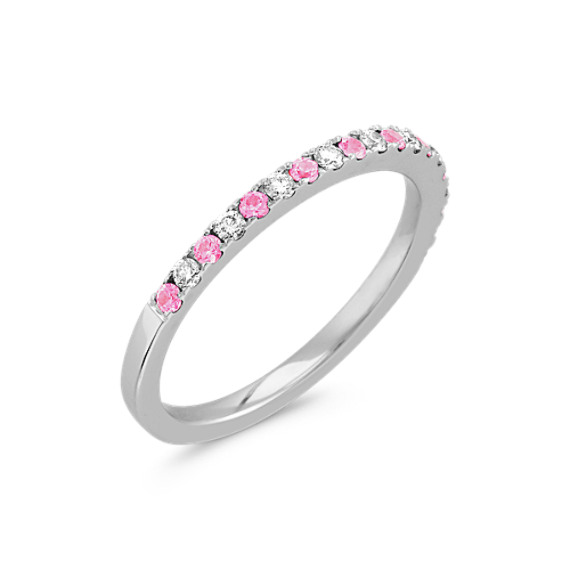 Pink Sapphire and Diamond Wedding Band with Pavé Setting