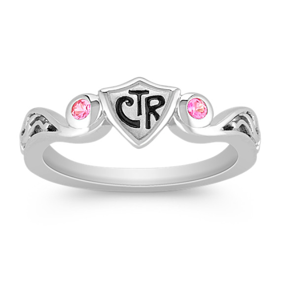 Pink Sapphire and Sterling Silver CTR Ring