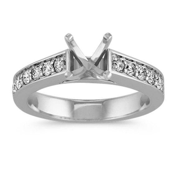Platinum Cathedral Diamond Engagement Ring with Pavé Setting